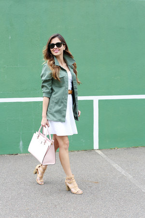 army green H&M jacket - white Nordstrom dress - light pink kate spade bag