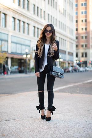 black Topshop jeans - black Topshop blazer - black Chanel bag