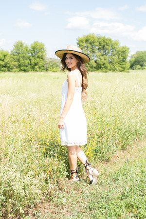 beige Urban Outfitters hat - white ann taylor dress - black Nordstrom wedges