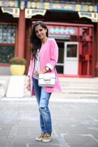 white Nordstrom t-shirt - blue Zara jeans - white Forever 21 bag