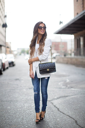 white Nordstrom blazer - blue Nordstrom jeans - black Chanel bag