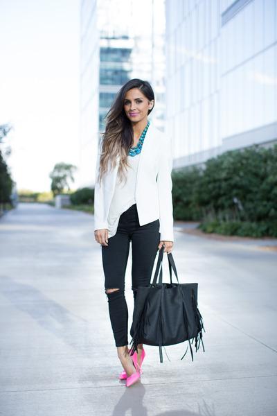white Topshop blazer - black Topshop jeans - black Nordstrom bag