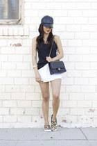 black Nordstrom hat - black Chanel bag - camel Steve Madden flats