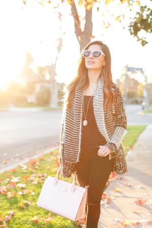 black Topshop jeans - black Anthropologie sweater - light pink kate spade bag