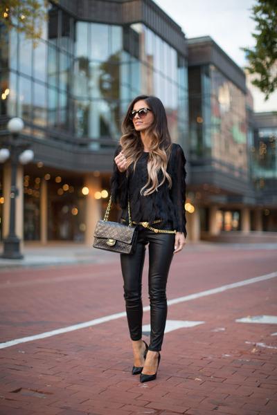 black Forever 21 sweater - black Chanel bag - black Shopbop pants