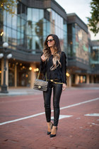 black Forever 21 sweater - black Chanel bag - black Shopbop pants