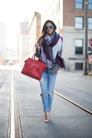 silver free people coat - blue BLANKNYC jeans - maroon H&M scarf