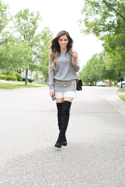 black Nordstrom boots - heather gray Shopbop dress - black Chanel bag