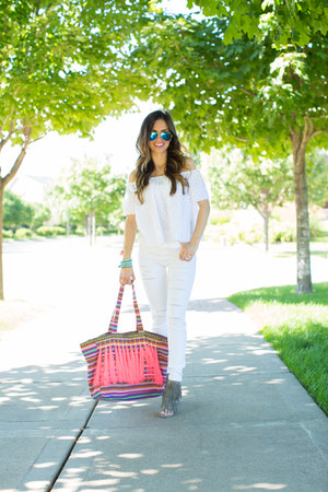 bubble gum Target bag - white Topshop jeans - blue ray-ban sunglasses