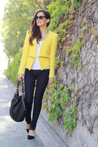 yellow Zara blazer - blue J Brand jeans - black Forever 21 heels