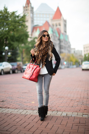 camel Zara scarf - black sam edelman boots - heather gray Zara jeans