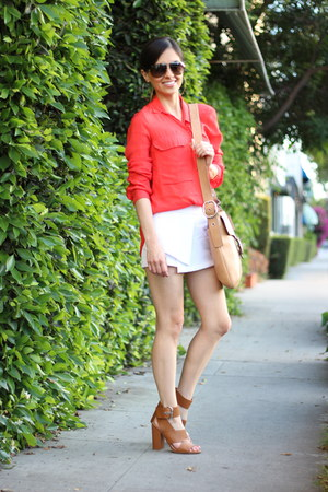 red Zara blouse - white Urban Outfitters shorts - brown Forever 21 heels
