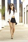 White-h-m-blazer-black-zara-shorts-white-topshop-top-black-zara-heels