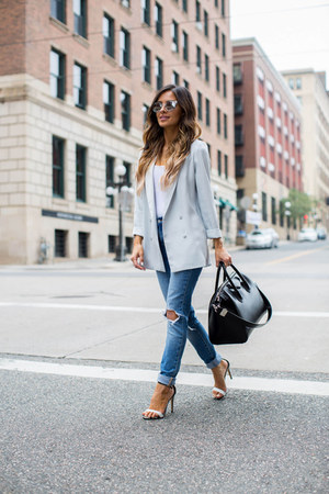 aquamarine Topshop blazer - blue Levis jeans - black Givenchy bag