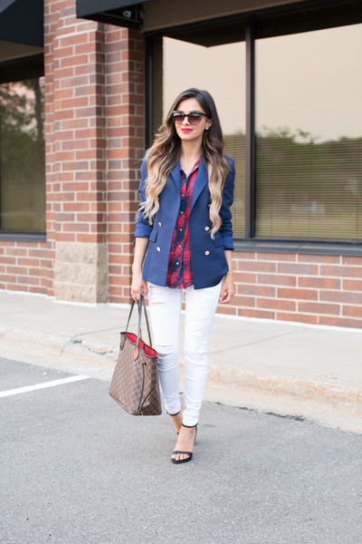 White-topshop-jeans-blue-zara-blazer-dark-brown-louis-vuitton-bag