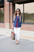red Zara top - white Topshop jeans - blue Zara blazer