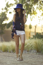 navy BCBG hat - white American Eagle shorts - gold Nordstrom sandals