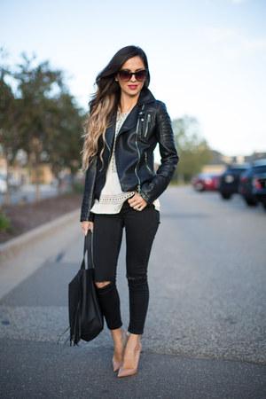 black Zara jacket - black Topshop jeans - black Nordstrom bag