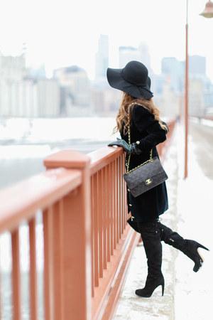 black sam edelman boots - black Nordstrom coat - black Chanel bag