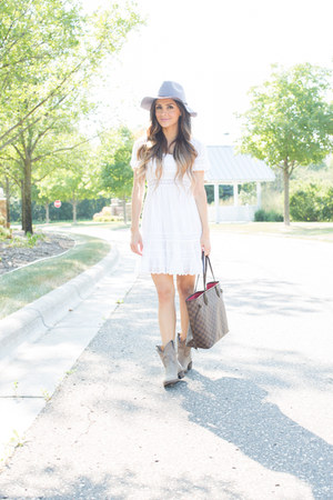 beige Frye boots - white Topshop dress - brown Louis Vuitton bag
