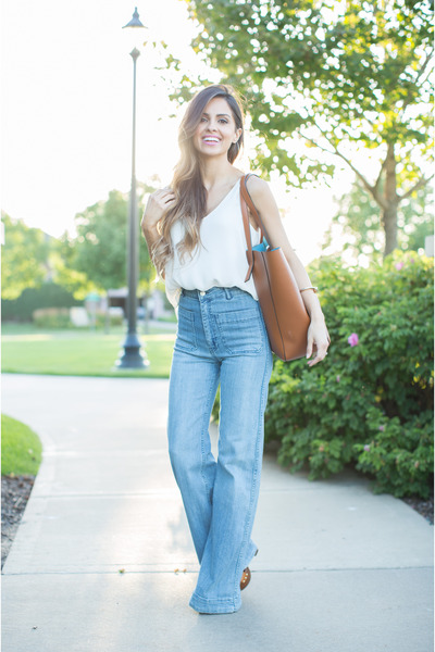 Blue-h-m-jeans-brown-forever-21-bag-brown-target-heels-white-loft-top