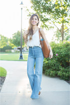 white Loft top - blue H&M jeans - brown Forever 21 bag - brown Target heels