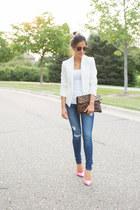 white Topshop blazer - blue Shopbop jeans - bubble gum Kurt Geiger heels