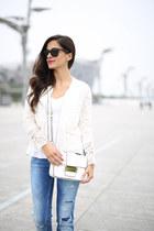 white Zara blazer - blue Zara jeans - white Forever 21 bag - white Topshop top