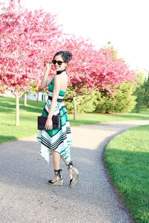 black Chanel bag - green Anthropologie dress - black Nordstrom wedges