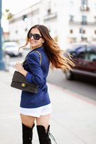 black Chanel bag - forest green stuart weitzman boots - blue Zara blazer