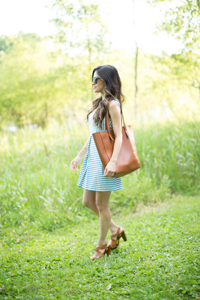 brown Forever 21 bag - light blue Topshop dress - brown Target heels