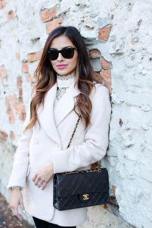 black Topshop jeans - light pink H&M coat - black Chanel bag