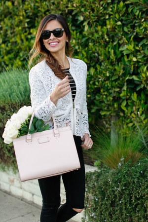 black Topshop jeans - ivory Zara sweater - light pink kate spade bag
