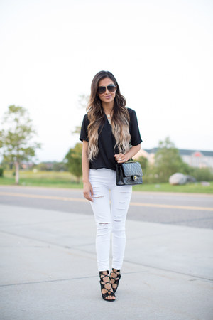 white Topshop jeans - black Chanel bag - black Topshop top - black Choies heels