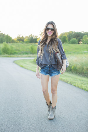 silver Frye boots - blue Shopbop jeans - brown Louis Vuitton bag