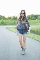 silver Frye boots - blue Shopbop jeans - brown Louis Vuitton bag