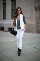 white asos vest - black Zara boots - white Topshop jeans - black Chanel bag
