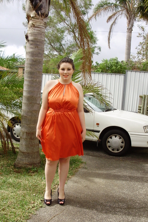 orange Events dress - black shoes
