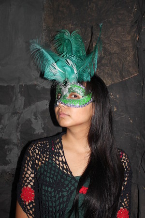 green Venetian Mask accessories - black knitted Yogyakarta Handmade top
