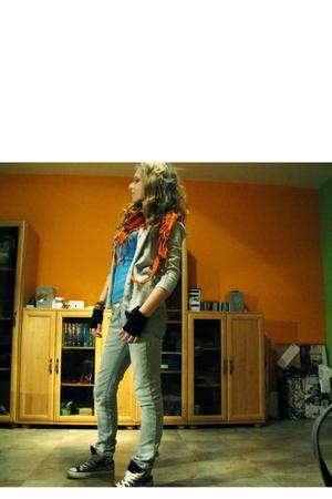 shoes - silver - blue - silver - orange scarf