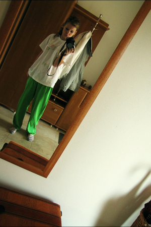 green pants - white tie