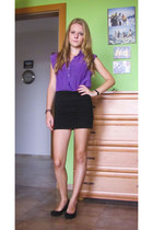 black c&a skirt - black Peacocks wedges - amethyst c&a blouse - black watch