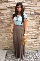 tan Forever21 skirt - light blue Forever21 top - black Spring wedges