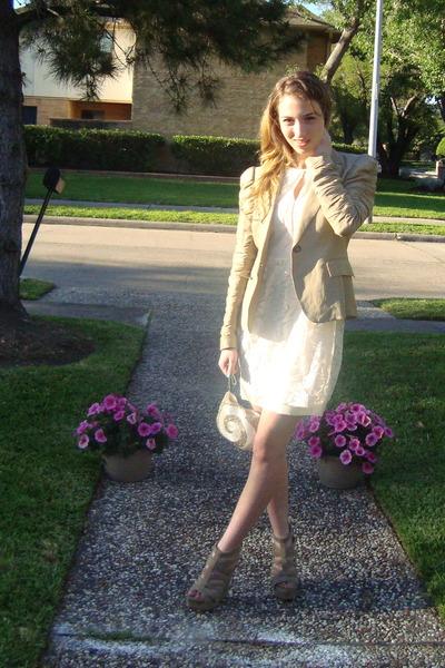 beige Zara blazer - white Zara dress - beige Zara shoes