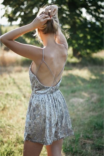 silver velvet GAMISS dress