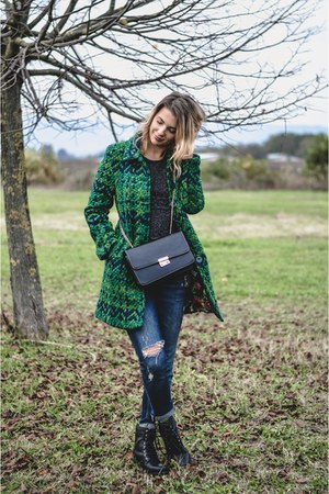 green desigual coat - blue Zara jeans - black zaful bag