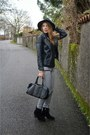 Black-ankle-boots-asos-boots-choies-hat-black-leather-pull-bear-jacket