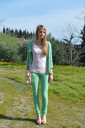 green skinny Zara pants - light pink asos bag