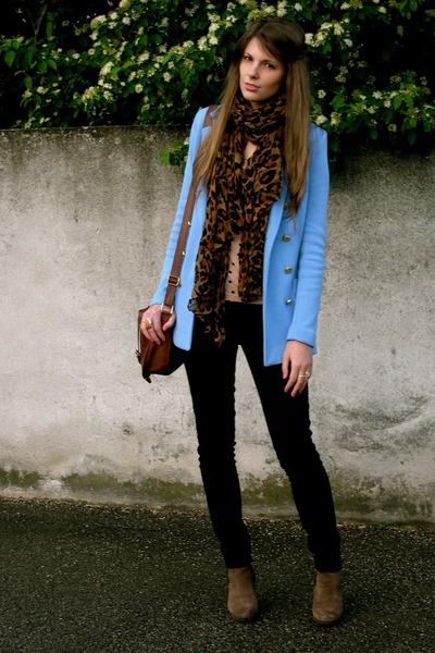 sky blue H&M jacket - light brown keys boots