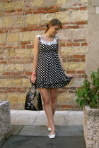 black polka dots baby angel OVS dress - black floral Harrods bag